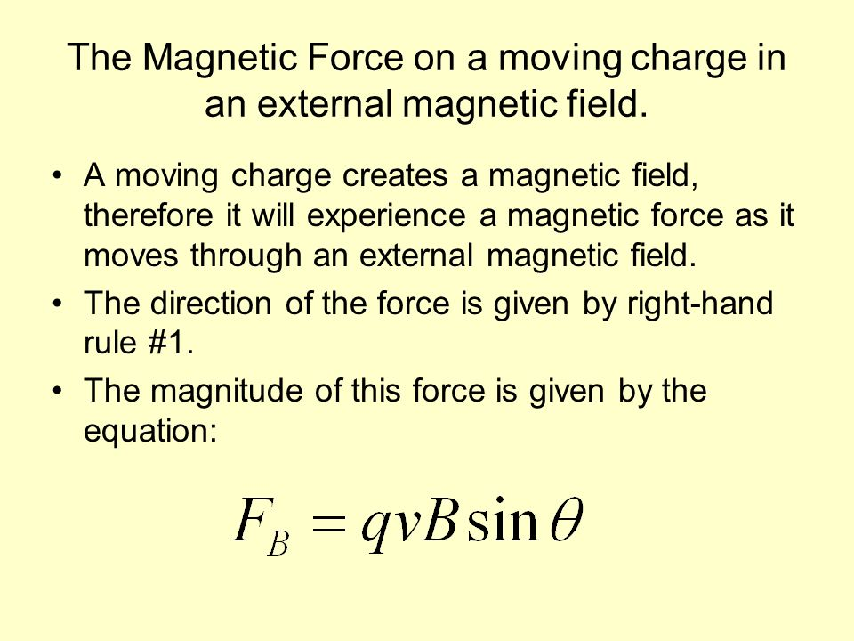 The Magnetic Force on a moving charge in an external magnetic field.
