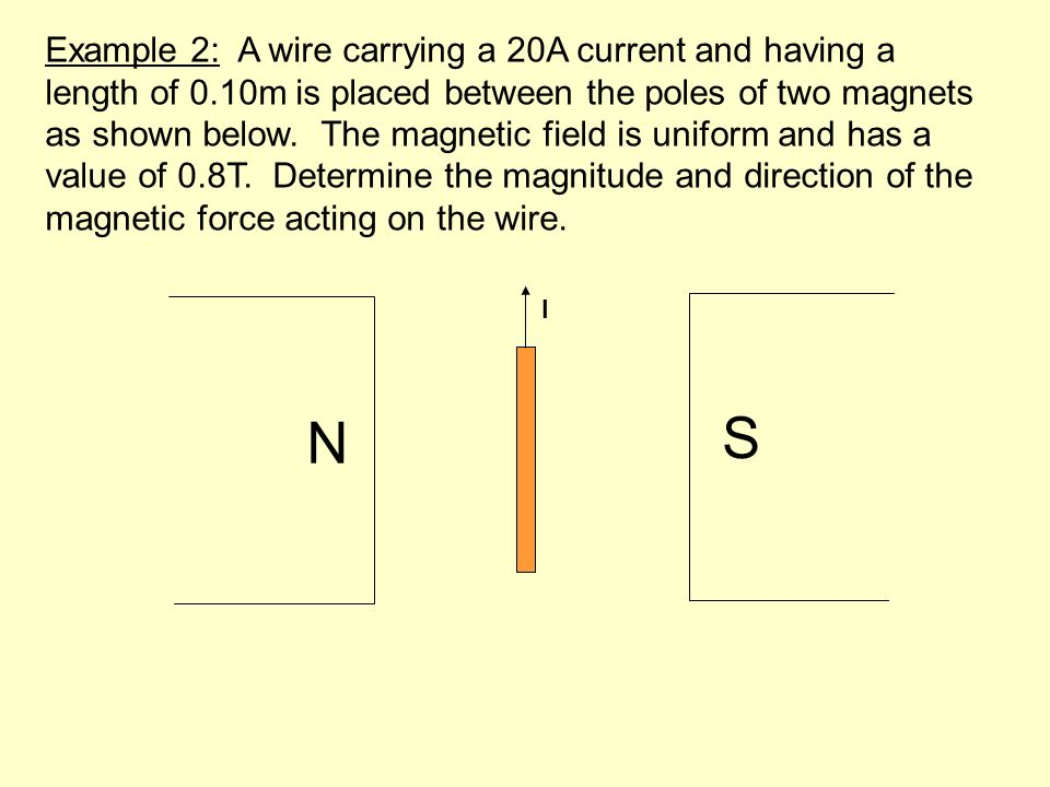 Example 2: A wire carrying a 20A current and having a length of 0