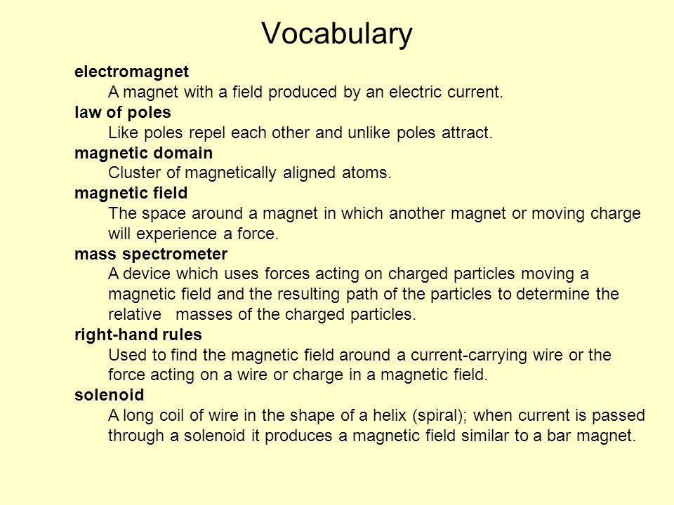 Vocabulary electromagnet
