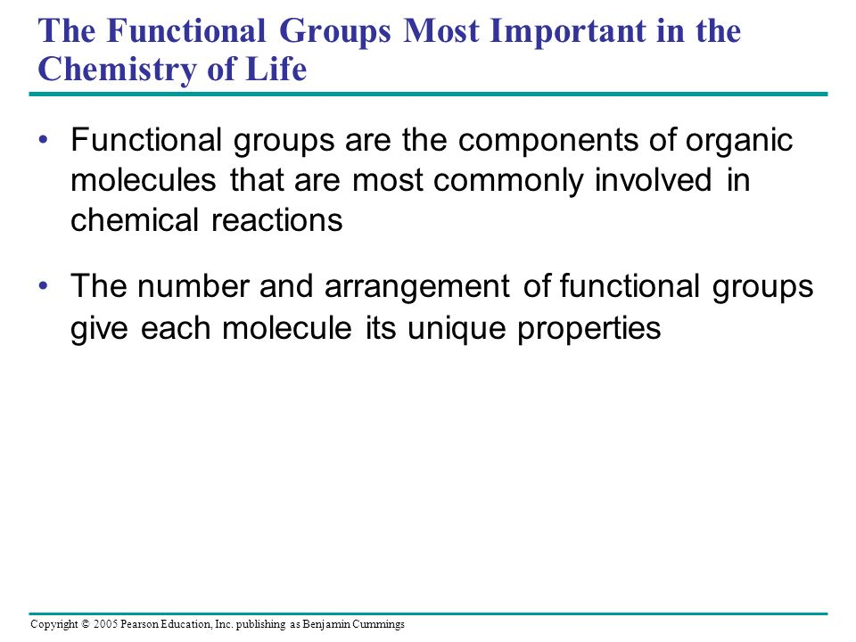 The Functional Groups Most Important in the Chemistry of Life