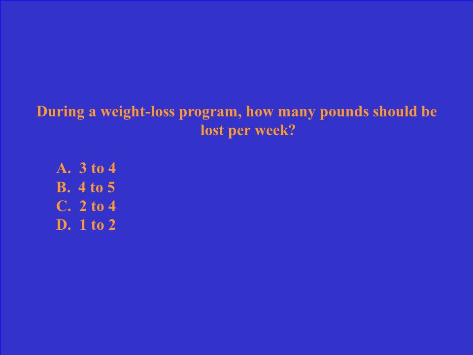 During a weight-loss program, how many pounds should be lost per week