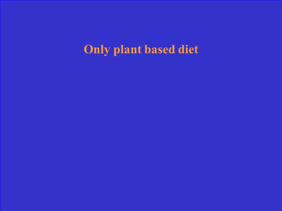 Only plant based diet