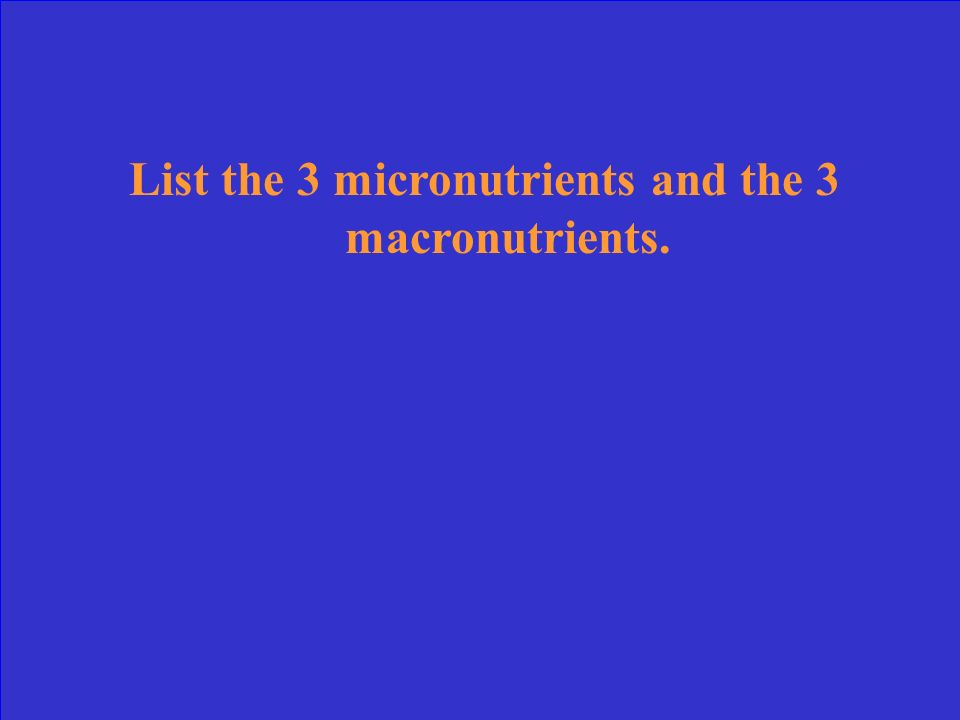 List the 3 micronutrients and the 3 macronutrients.