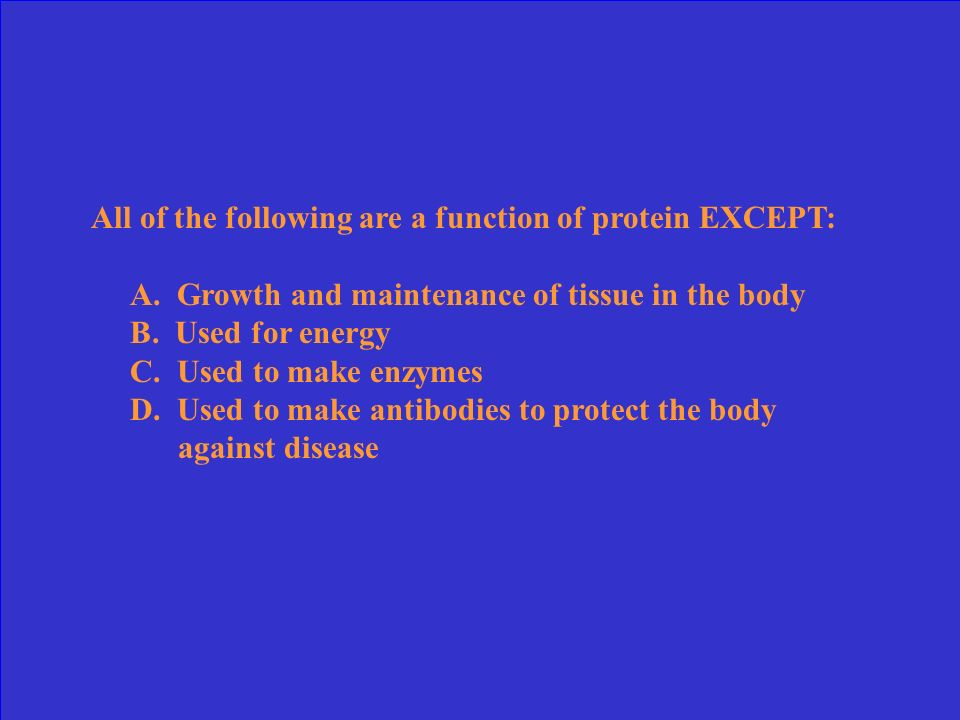 All of the following are a function of protein EXCEPT: