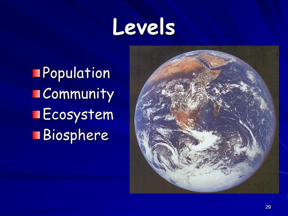 Levels Population Community Ecosystem Biosphere
