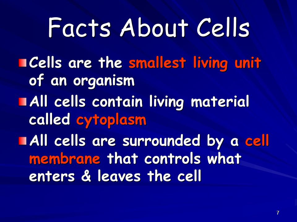 Facts About Cells Cells are the smallest living unit of an organism