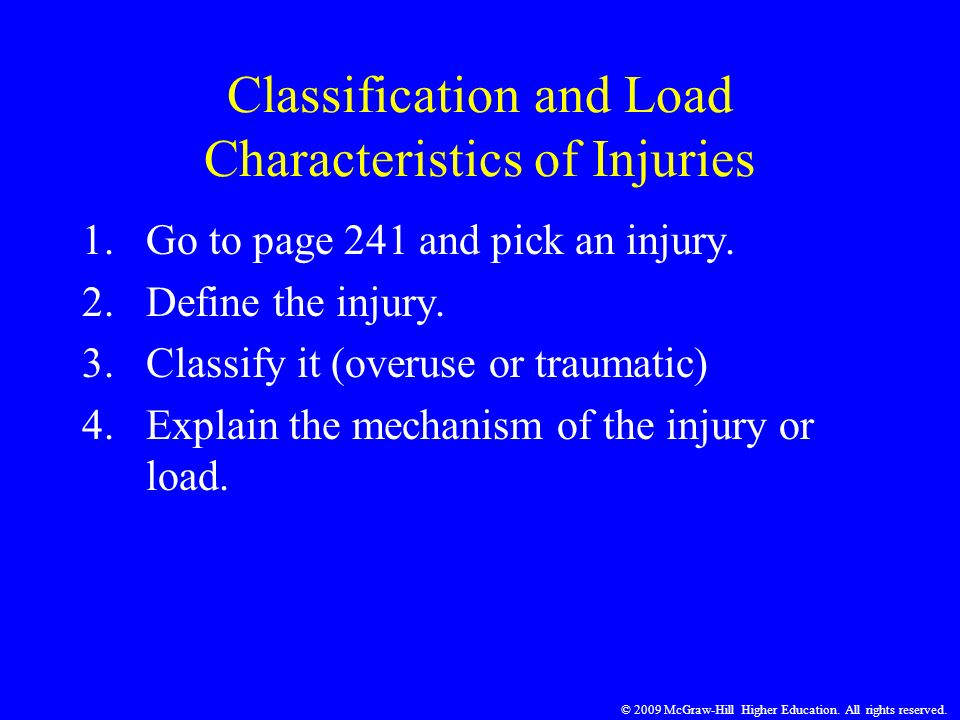 Classification and Load Characteristics of Injuries