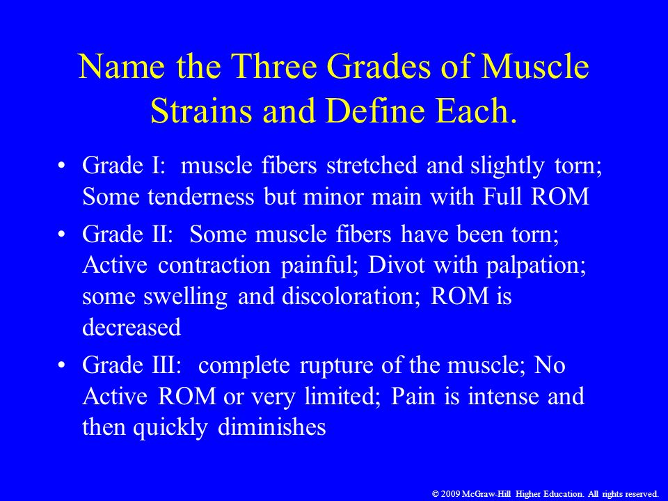 Name the Three Grades of Muscle Strains and Define Each.