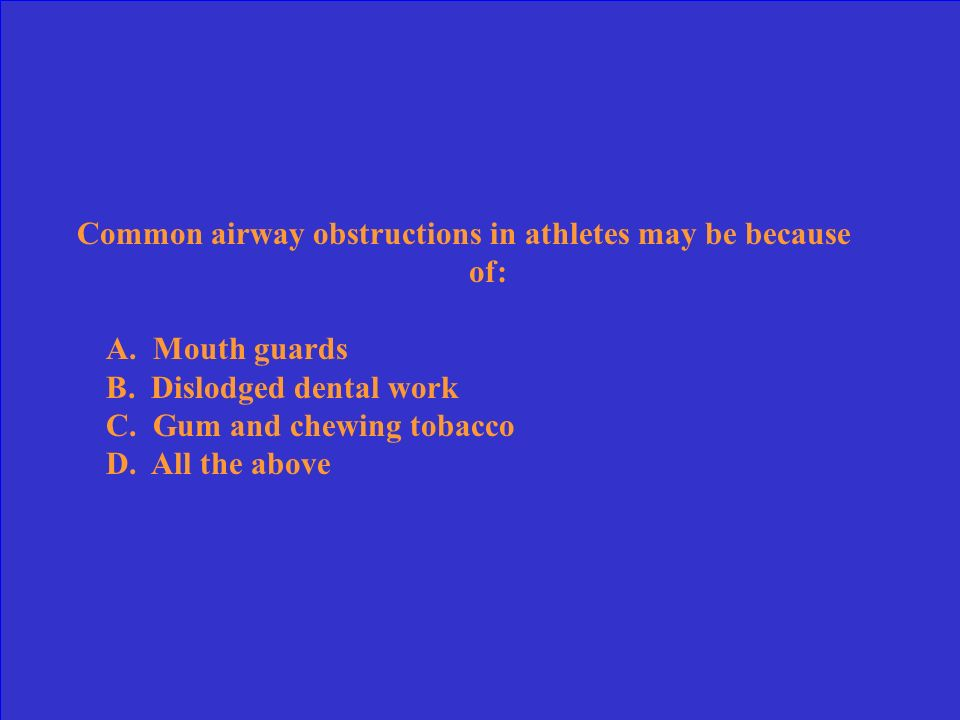 Common airway obstructions in athletes may be because of: