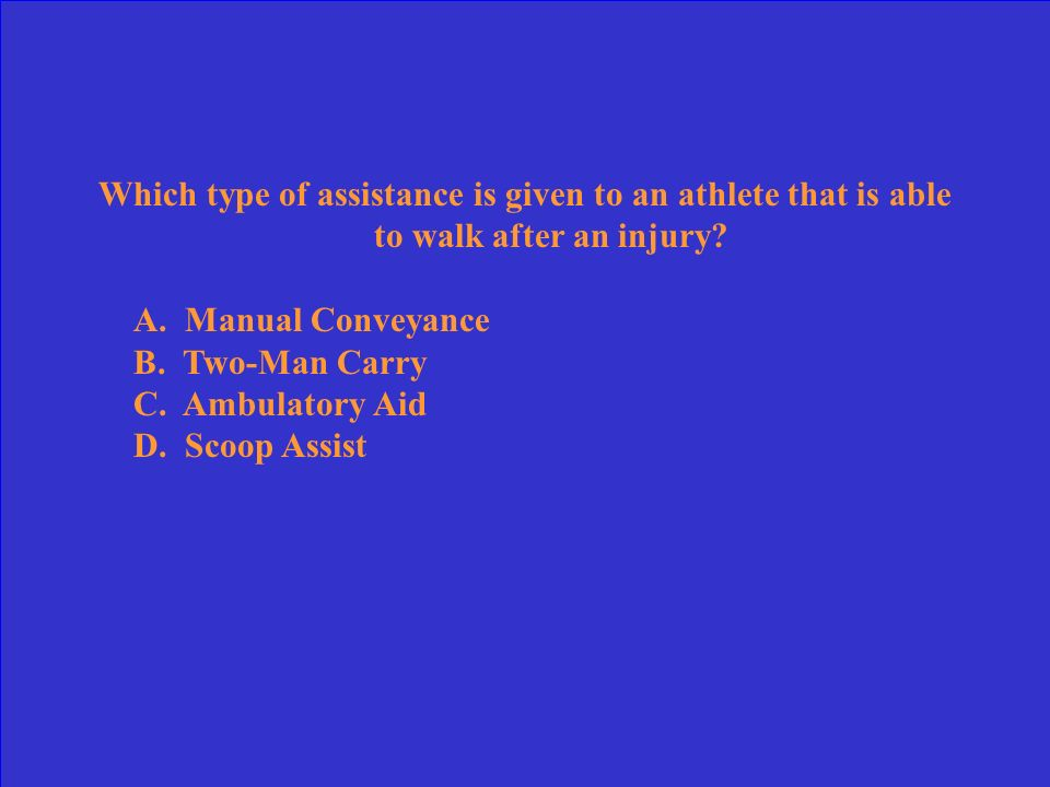 Which type of assistance is given to an athlete that is able to walk after an injury