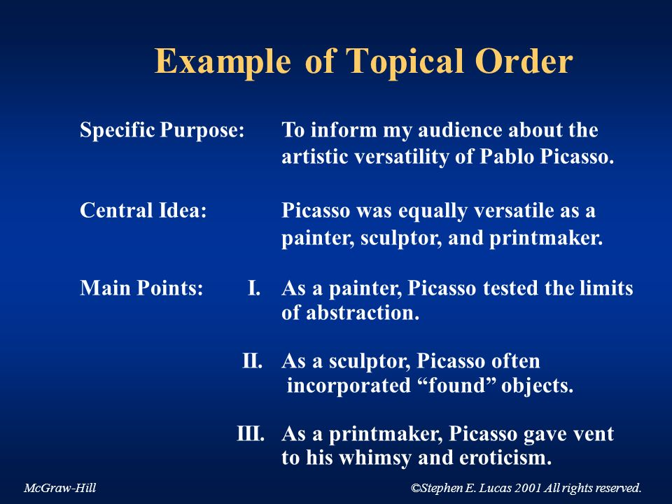 Example of Topical Order