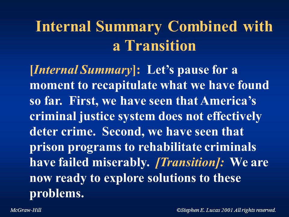 Internal Summary Combined with a Transition