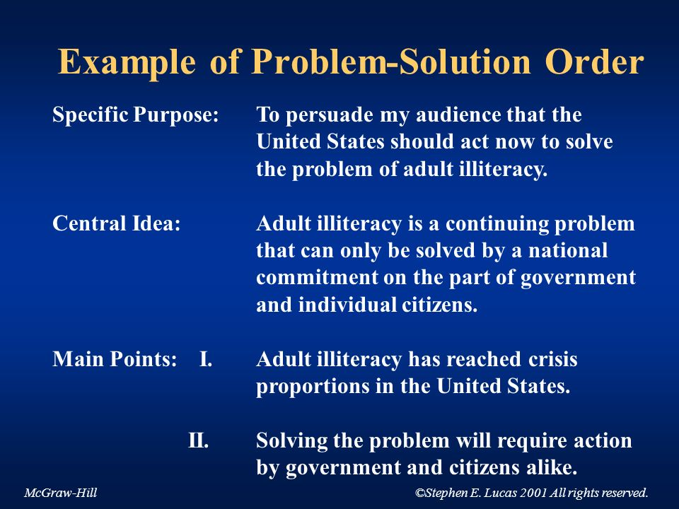 Example of Problem-Solution Order