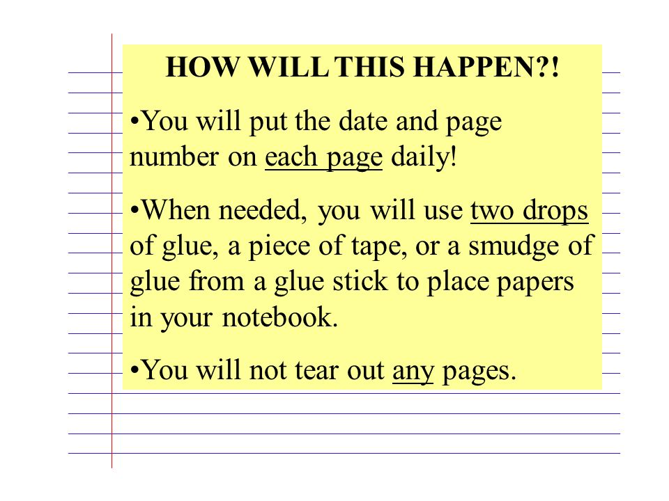 You will put the date and page number on each page daily!