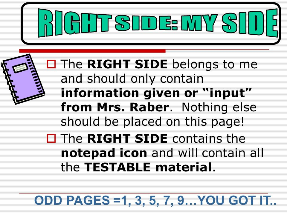 RIGHT SIDE: MY SIDE ODD PAGES =1, 3, 5, 7, 9…YOU GOT IT..