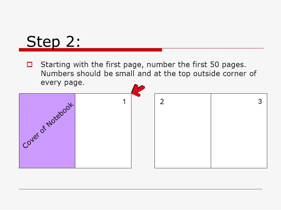 Step 2: Starting with the first page, number the first 50 pages. Numbers should be small and at the top outside corner of every page.