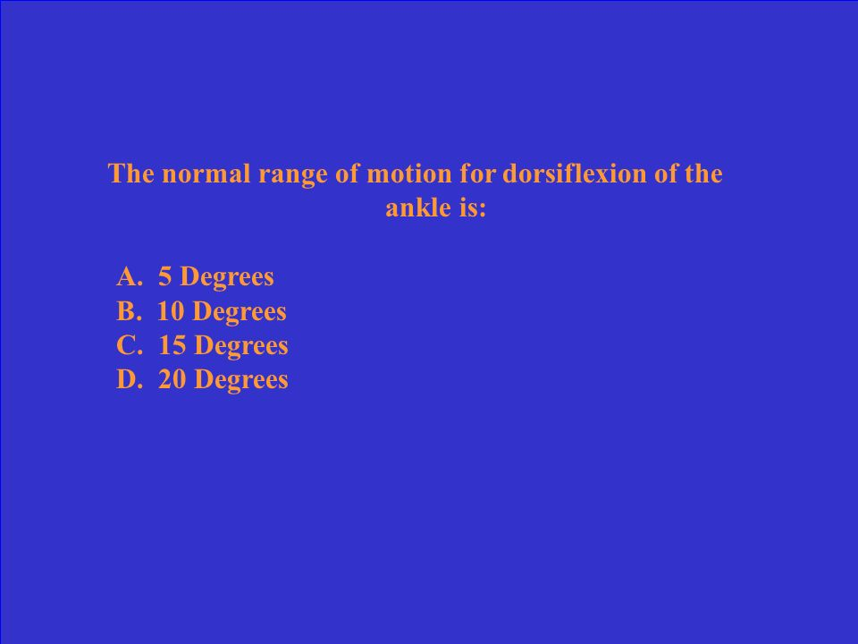The normal range of motion for dorsiflexion of the ankle is: