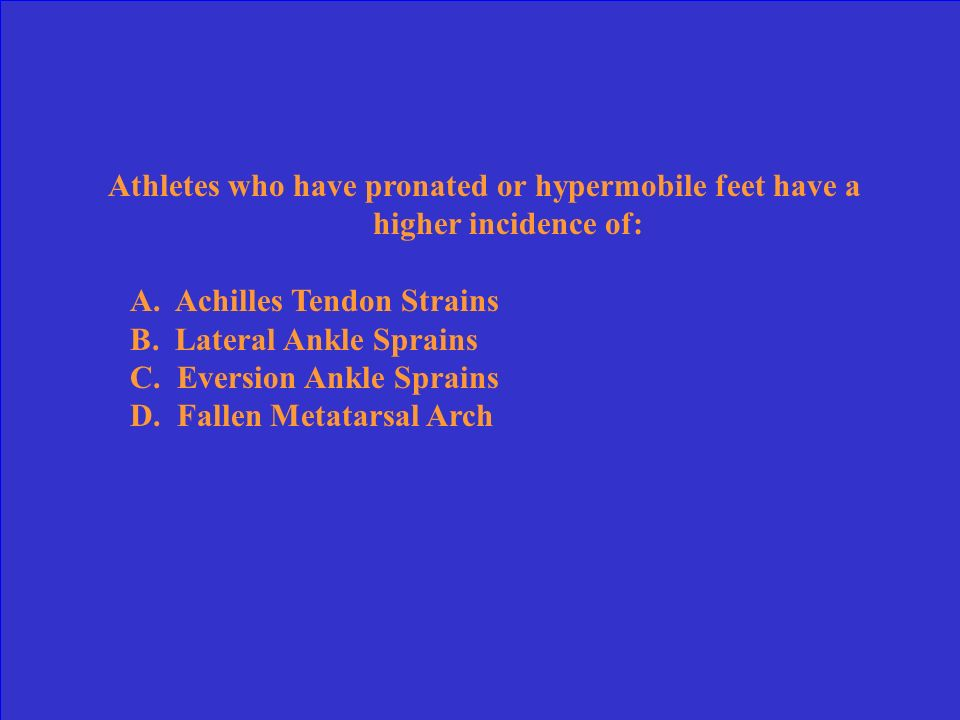 Athletes who have pronated or hypermobile feet have a higher incidence of: