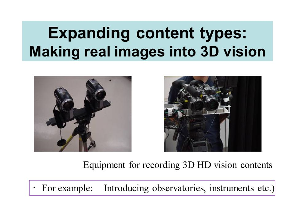 Expanding content types: Making real images into 3D vision