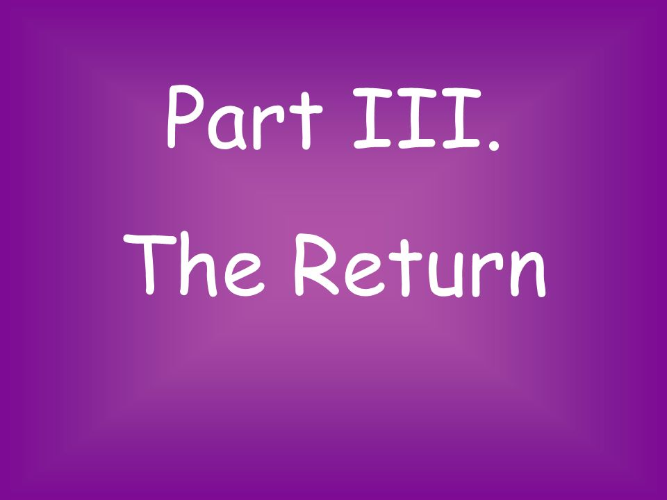 Part III. The Return