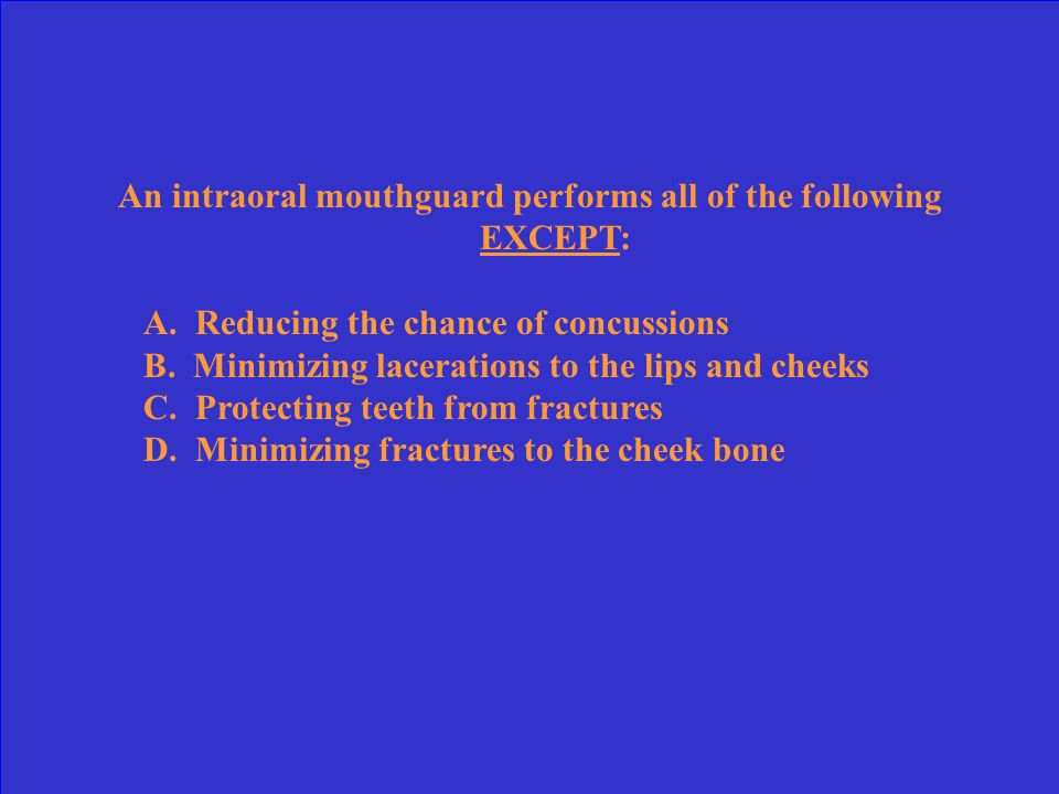 An intraoral mouthguard performs all of the following EXCEPT: