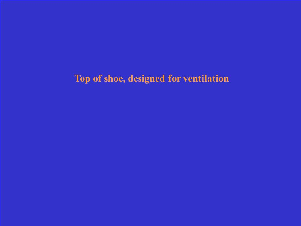 Top of shoe, designed for ventilation