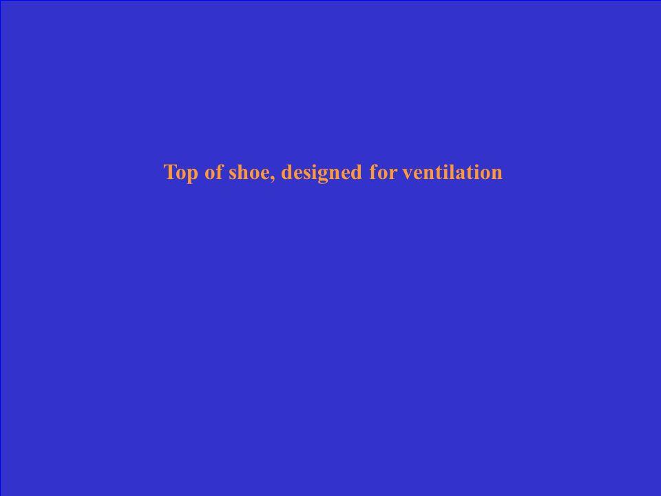 Top of shoe, designed for ventilation