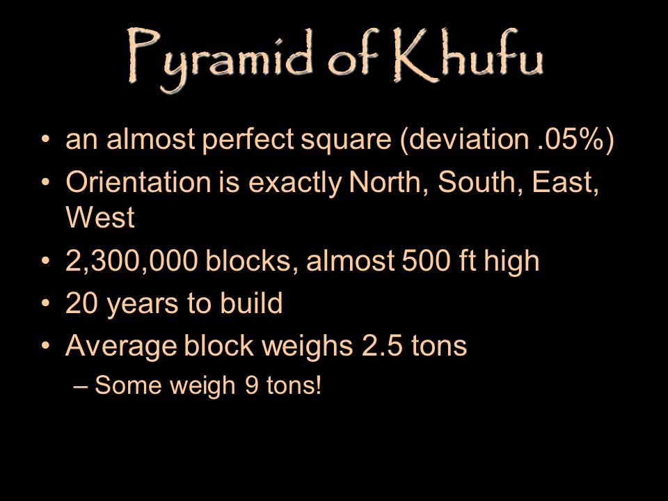 Pyramid of Khufu an almost perfect square (deviation .05%)