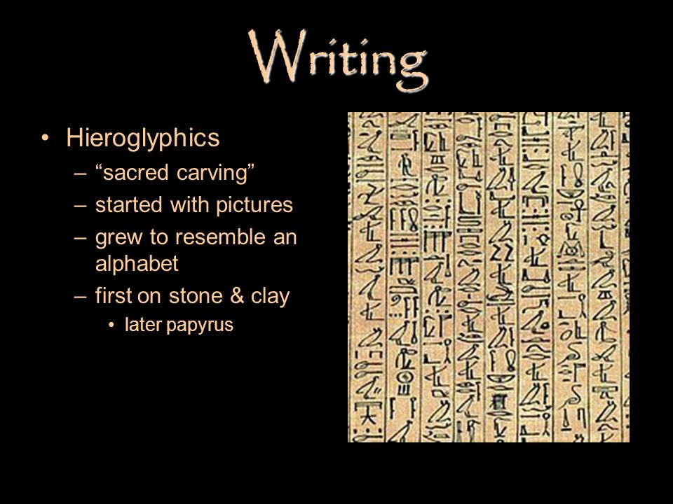 Writing Hieroglyphics sacred carving started with pictures