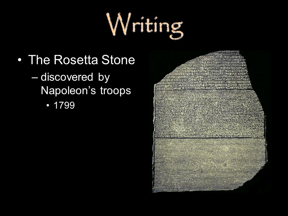 Writing The Rosetta Stone discovered by Napoleon's troops 1799