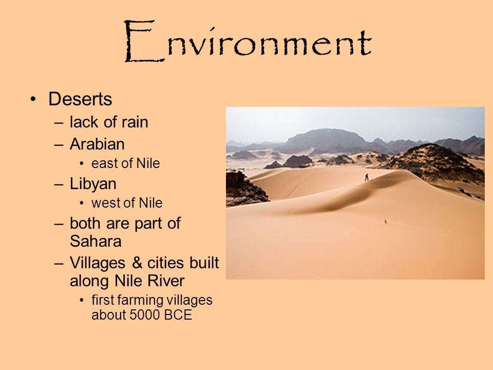 Environment Deserts lack of rain Arabian Libyan
