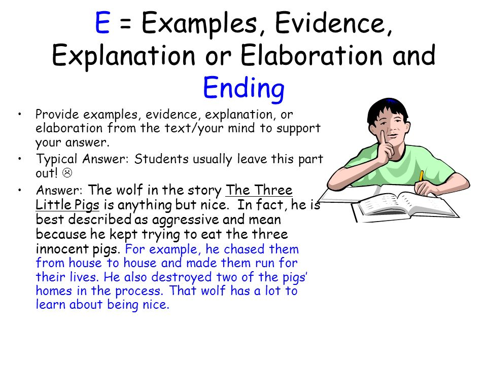 E = Examples, Evidence, Explanation or Elaboration and Ending