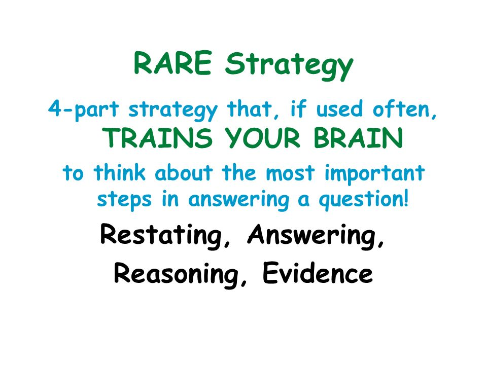 RARE Strategy Restating, Answering, Reasoning, Evidence