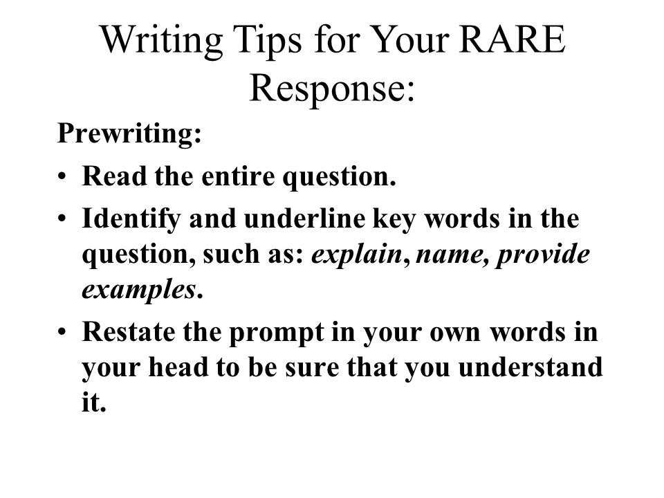 Writing Tips for Your RARE Response: