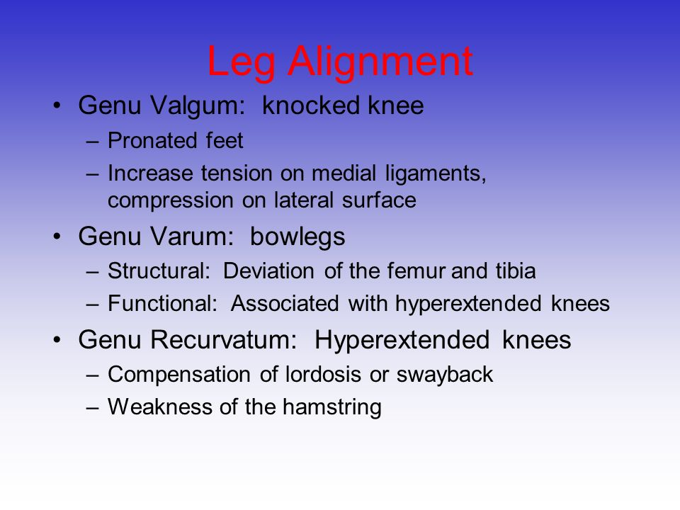 Leg Alignment Genu Valgum: knocked knee Genu Varum: bowlegs
