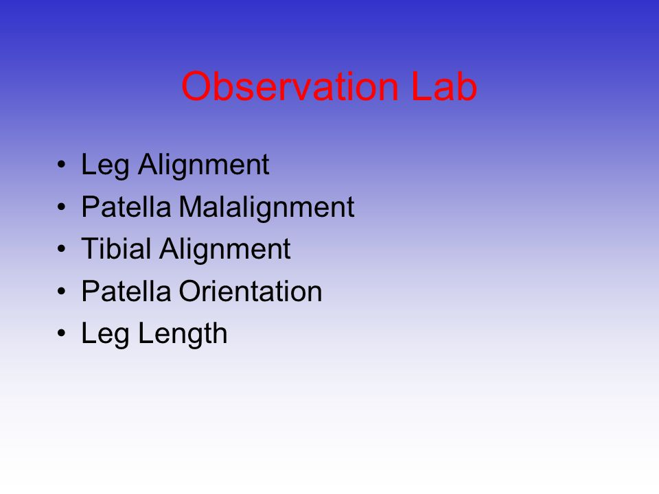 Observation Lab Leg Alignment Patella Malalignment Tibial Alignment