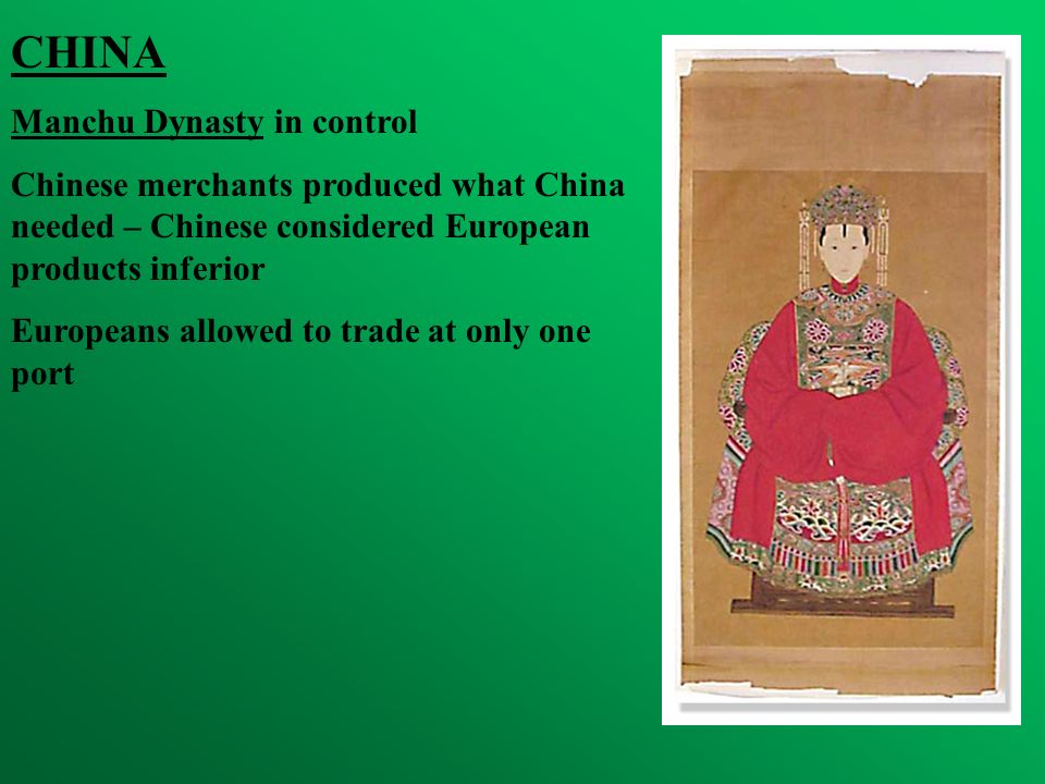 CHINA Manchu Dynasty in control