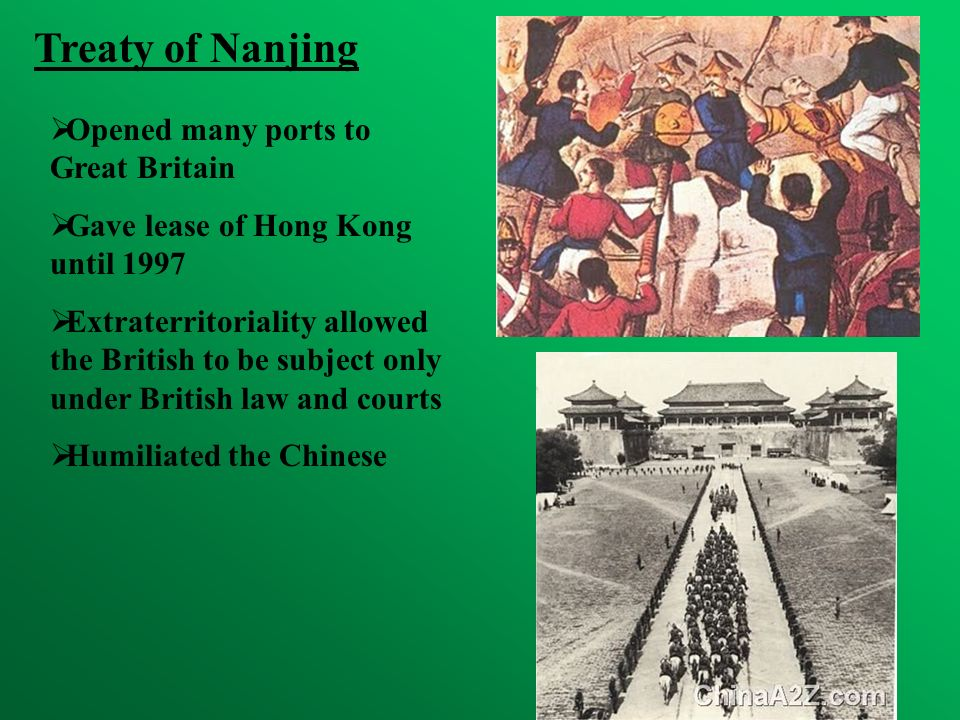 Treaty of Nanjing Opened many ports to Great Britain