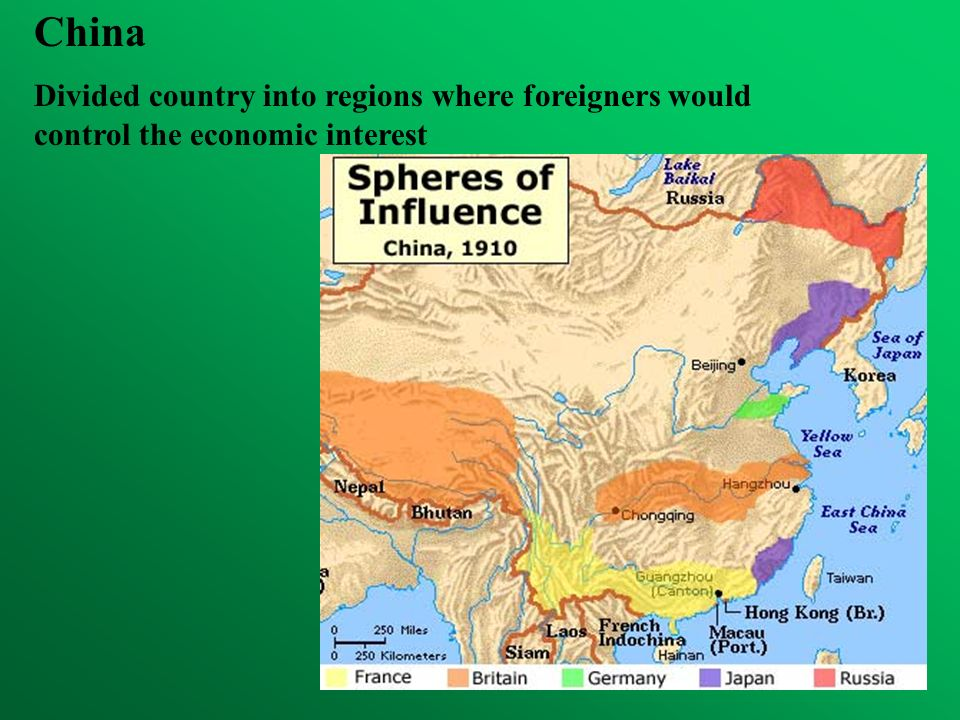 China Divided country into regions where foreigners would control the economic interest