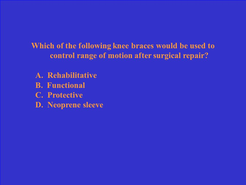 Which of the following knee braces would be used to control range of motion after surgical repair