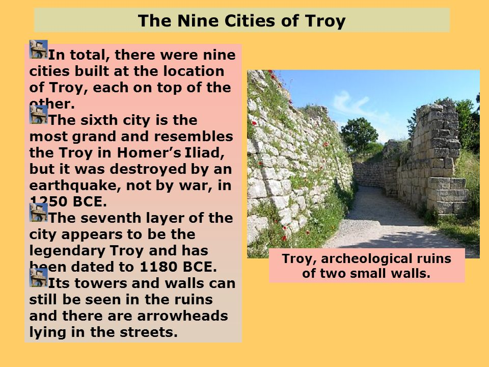 Troy, archeological ruins of two small walls.