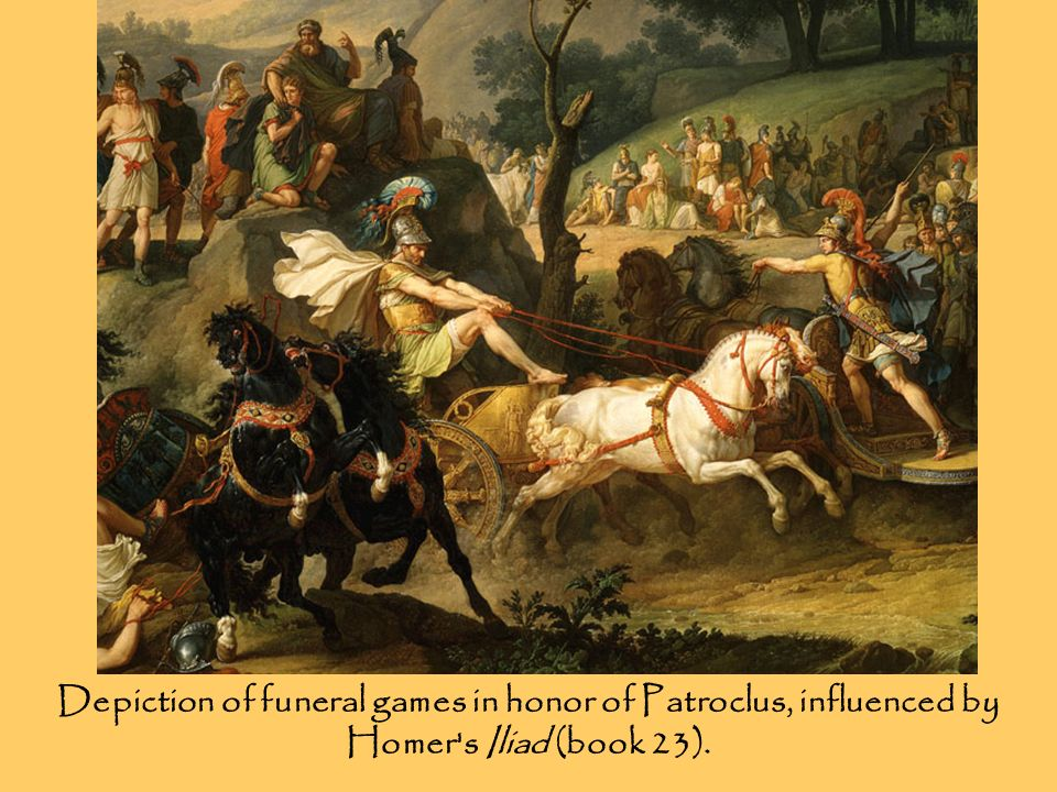 Depiction of funeral games in honor of Patroclus, influenced by Homer s Iliad (book 23).