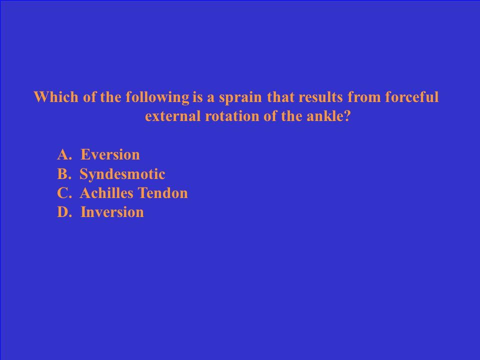Which of the following is a sprain that results from forceful external rotation of the ankle