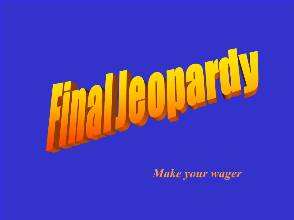 Final Jeopardy Make your wager