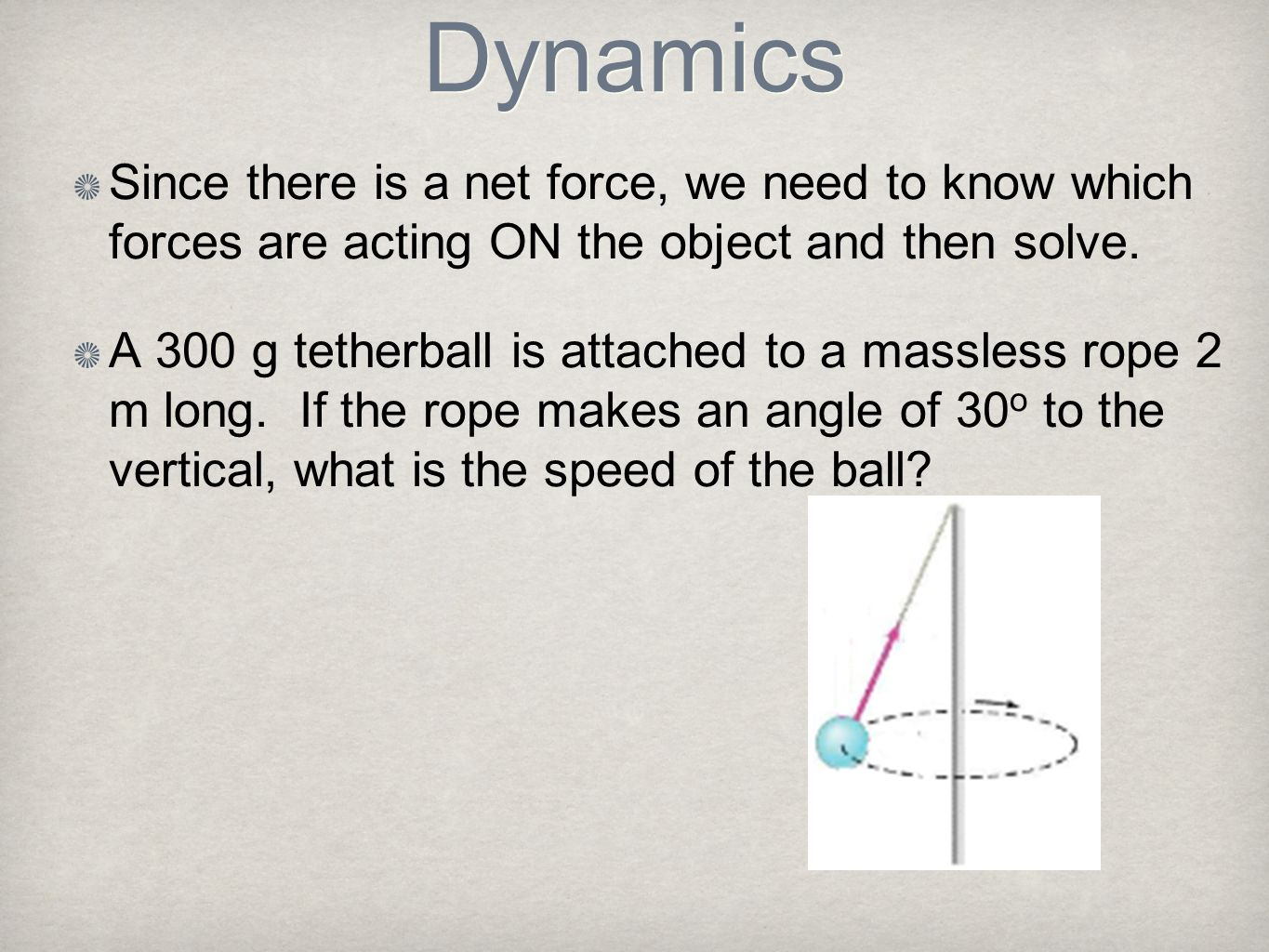 Dynamics Since there is a net force, we need to know which forces are acting ON the object and then solve.