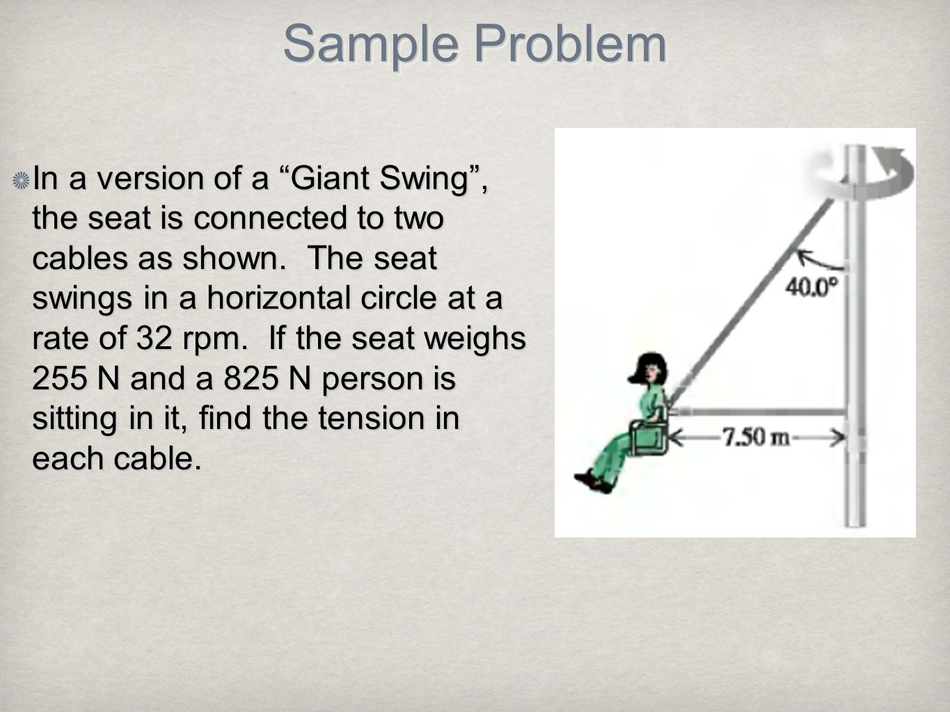 In a version of a Giant Swing , the seat is connected to two cables as shown. The seat swings in a horizontal circle at a rate of 32 rpm. If the seat weighs 255 N and a 825 N person is sitting in it, find the tension in each cable.