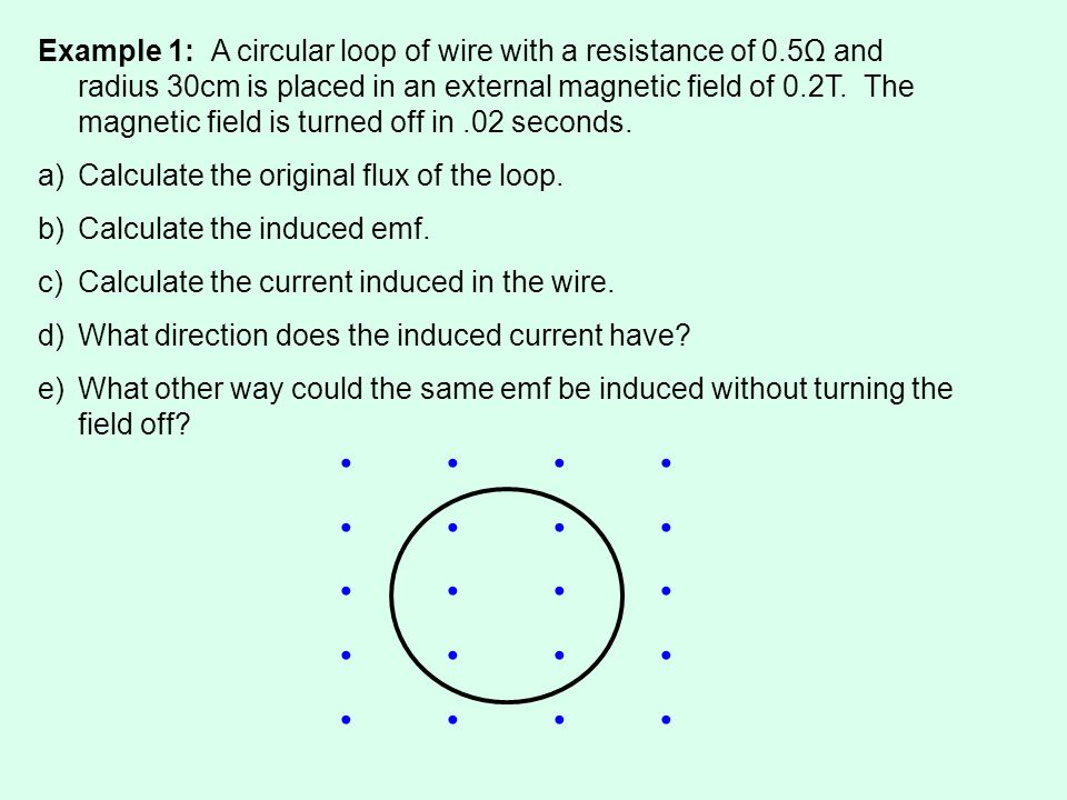 Example 1: A circular loop of wire with a resistance of 0