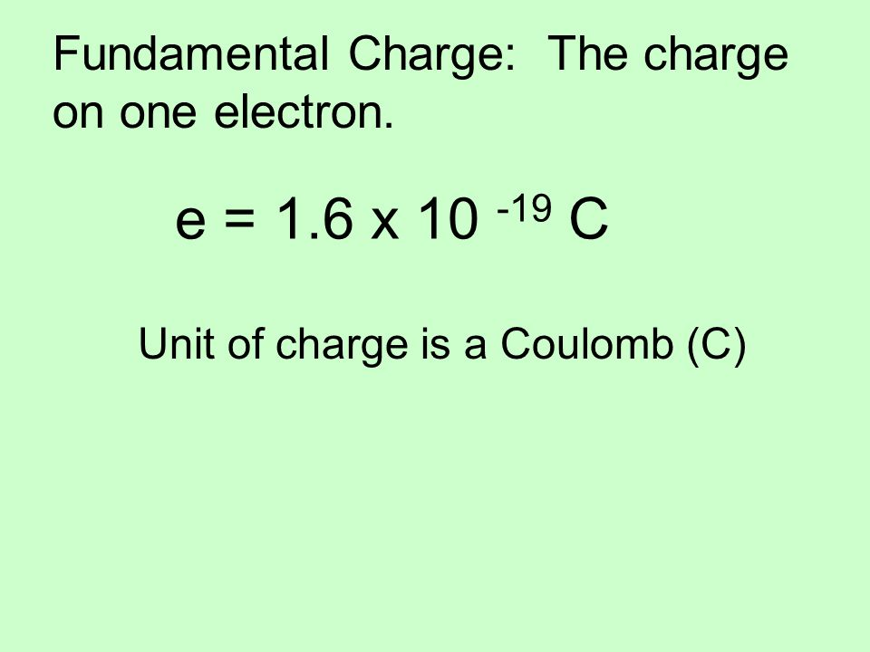 Fundamental Charge: The charge on one electron.