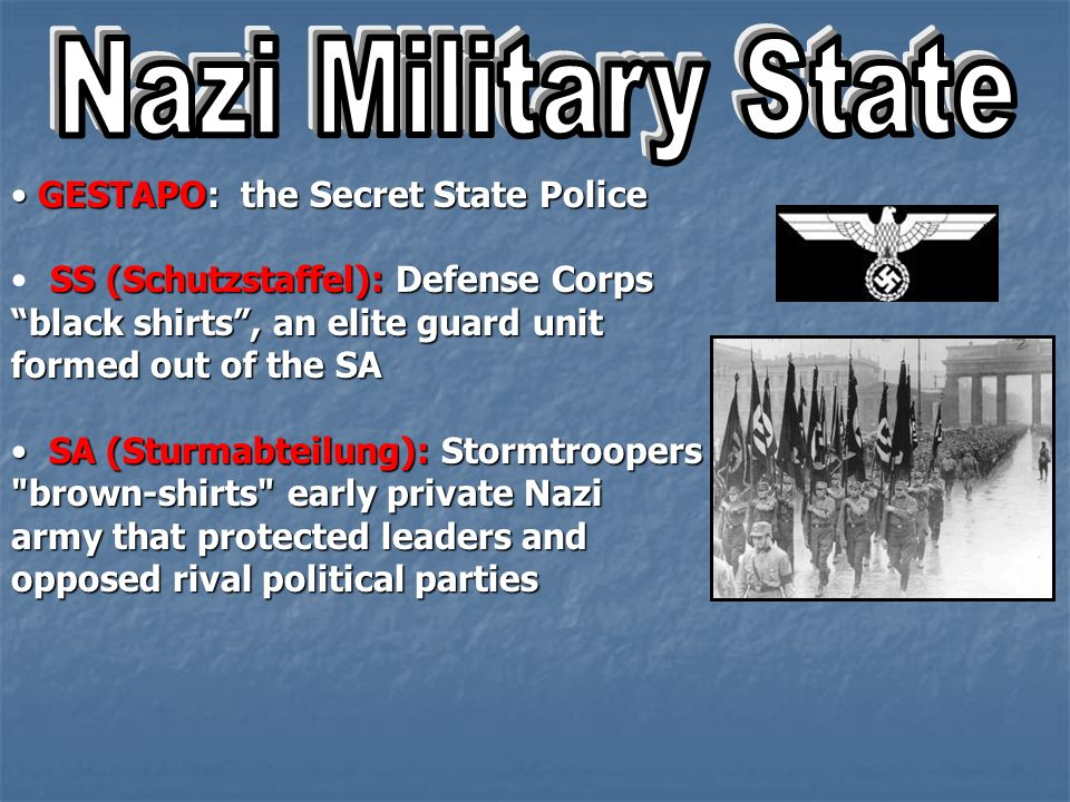 Nazi Military State GESTAPO: the Secret State Police