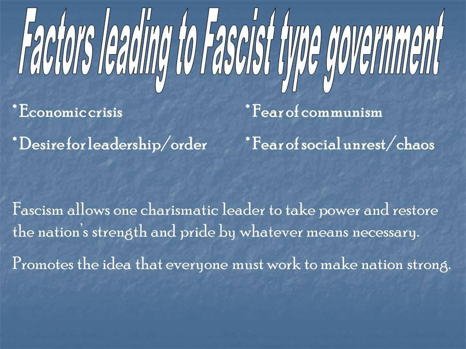 Factors leading to Fascist type government